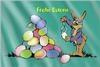 Fahne: Osterhase vor Eierhaufen