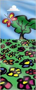 Fahne: Blumenwiese mit Baum und Schmetterling