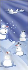 Fahne: Schneemänner in Winterlandschaft