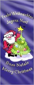 Fahnentext: Frohe Weihnachten in vier Sprachen