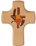 Holzkreuz Kelch+Traube+Ähre