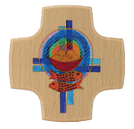 Holzkreuz Brot+Fische+Kreuze